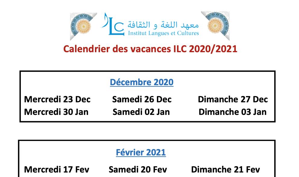 Les vacances scolaires 2020-2021